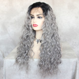 natural-looking long grey curly wig with pre-plucked hairline