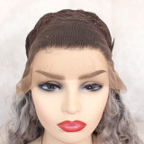 the best 13X4 grey curly synthetic wig with baby hairs and dark roots