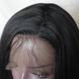 Black Straight Yaki Hair 13*4 Synthetic Lace Front Wig 24 Inches
