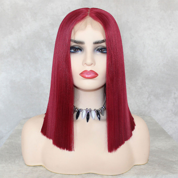 ReadyWig Red Straight Long Bob 13*6 Lace Front Wig 16 Inches