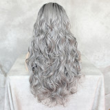 Grey color Long Wavy Heat Resistant Synthetic Wig For Black women