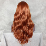 Lace Front Wig bright orange Synthetic Wigs Long Wavy Heat Resistant Fiber Hair Wigs Loose Wave Half Hand Tied Wigs For Women
