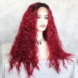 hand tied 13X4 synthetic lace front wig 150% Density with dark roots