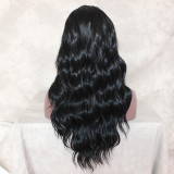 Lace Front Wig 1B Black Synthetic Wigs Long Wavy Heat Resistant Fiber Hair Wigs Loose Wave Half Hand Tied Wigs For Women