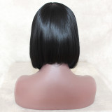 Black Natural Straight Wigs Lace  wig For Women Heat Resistant Fiber Hair Half Hand Tied