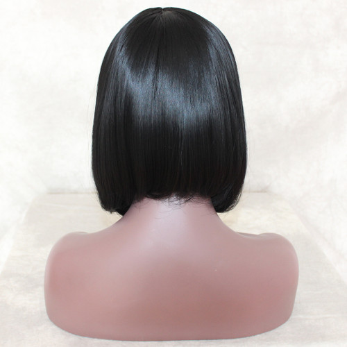 ReadyWig Black Short Straight Hair with Light Wavy Synthetic Lace Front Wig 14 Inches