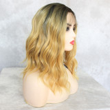 shoulder-length heat-resistant synthetic lace wig for black women