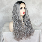 Heat Resistant Fiber Hair Synthetic Lace Front Wig  Grey Cosplay Wigs for Women