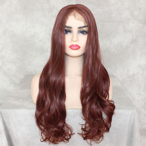 ReadyWig Copper Red Body Wave 13*6 Synthetic Lace Front Wig 24 Inches