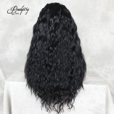 best-selling black long lace wig with natural hairline for women