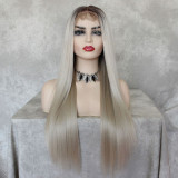 ReadyWig Ash Blonde Straight Hair 13*6 Synthetic Lace Front Wig 24 Inches