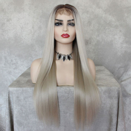 ReadyWig Ash Blonde Straight Hair 13*6 Lace Front Wig 24 Inches