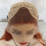 bright orange color long wavy synthetic lace wig with natural hairline