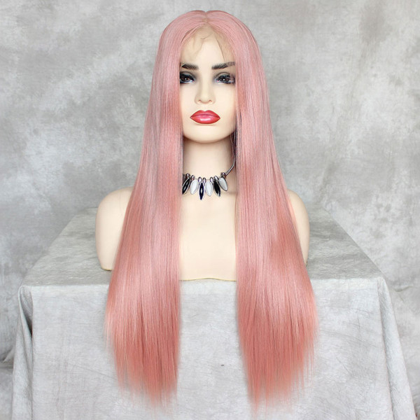 ReadyWig Pink Silky Straight Hair 13*6 Synthetic Lace Front Wig 22 Inches