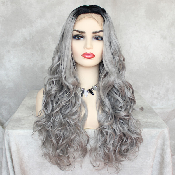 ReadyWig Grey Long Wavy Synthetic Lace Front Wig 24 Inches with Dark Roots