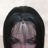 Short Style Straight Wig Black Bob Hair Synthetic Lace Front Wigs Natural Glueless Heat Resistant Fiber