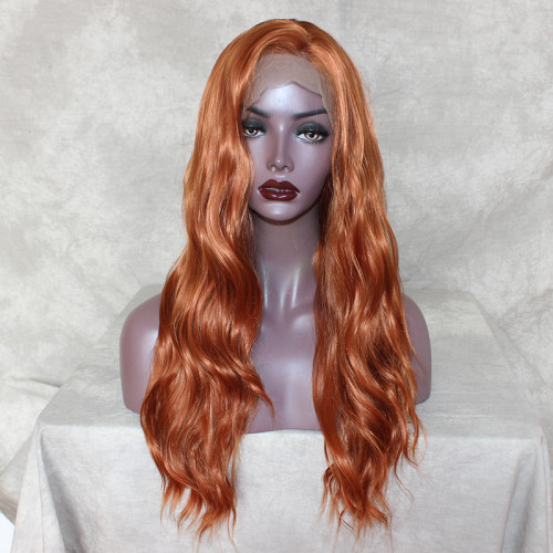 ReadyWig Brunt Orange Loose Wave Synthetic Lace Front Wig 20 Inches