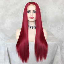 ReadyWig Red Straight Hair 13*6 Lace Front Wig 24 Inches