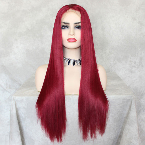 ReadyWig Red Straight Hair 13*6 Synthetic Lace Front Wig 24 Inches