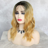 preplucked blonde short hair synthetic lace front wig with dark roots