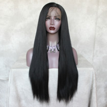 ReadyWig Black Straight Yaki Hair 13*4 Synthetic Lace Front Wig 24 Inches