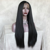 long black lace wig with pre-plucked hairline and great density