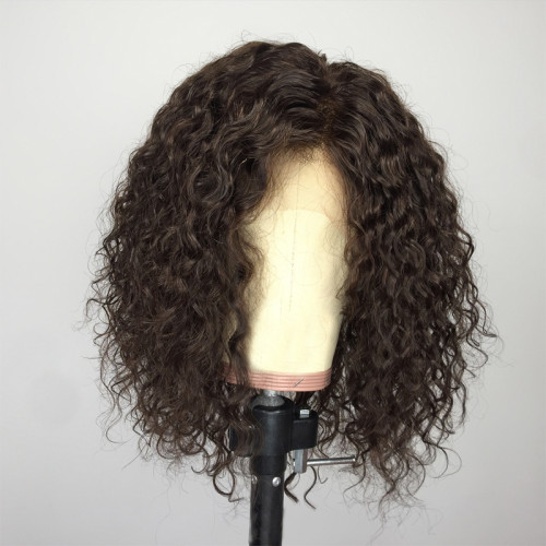 ReadyWig Brown Kinky Curly Short Bob Human Hair Lace Wig 14 Inches