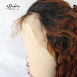 brown color Lace Front Wig Brazilian curly hair 150% Density