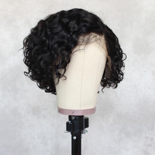 ReadyWig Black Curly Short Bob Human Hair Lace Wig 8 Inches
