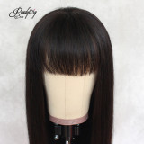 13*6 pre-plucked human hair lace front wig with silky straight and soft hair