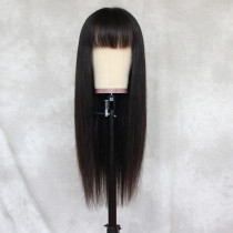 ReadyWig Black Straight Human Hair Lace Wig 20 Inches with Bangs