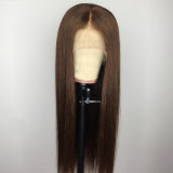 straight long silky brown wig Remy human hair wig best lace front wig for black women