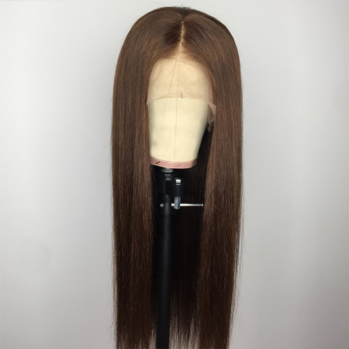 ReadyWig Brown Silky Straight Human Hair Lace Wig 22 Inches