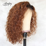 ReadyWig Brown Curly Bob Human Hair Lace Wig 14 Inches