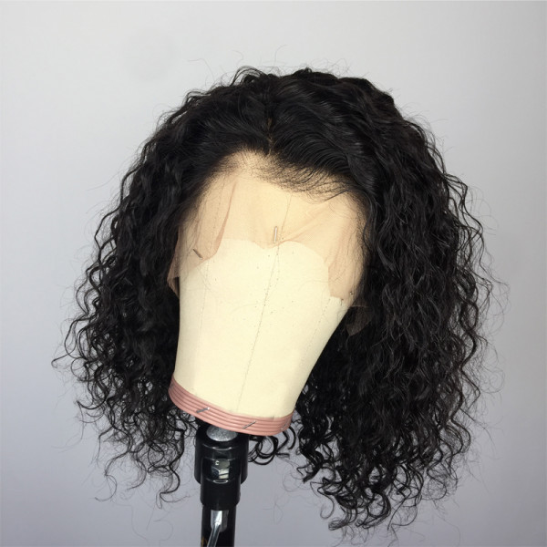ReadyWig Black Kinky Curly Short Bob Human Hair Lace Wig 12 Inches
