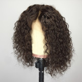 short curly hair wig, 100% unprocessed human hair Lace part wig 360 deep part swiss lace wigs
