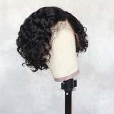 13*4 curly Brazilian Black Lace Wig with Free Part and Bleached Knots