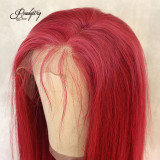 long striaght red color human remy hair with transparent lace