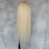 straight long silky blonde wig Remy human hair wig blonde hair works well with every color shade and styles