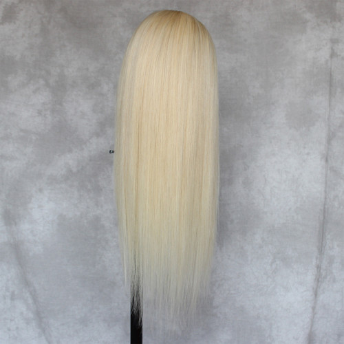 ReadyWig 613 Blonde Straight Human Hair Lace Wig 18 Inches