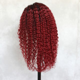 18 inches red kinky curly wigs with dark roots