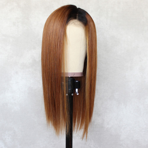 ReadyWig Brown Straight Dark Roots Human Hair Lace Wig 16 Inches