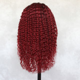 ReadyWig Red Kinky Curly Dark Roots Human Hair Lace Wig 18 Inches