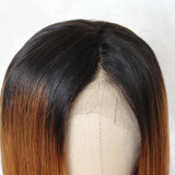 short hair lace wig brown dark roots human hair wig natural glueless lace  front wig for women