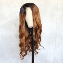ReadyWig Ombre Brown Body Wave Human Hair Lace Wig 22 Inches