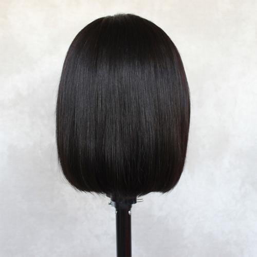 ReadyWig Black Short Bob Human Hair Lace Wig 12 Inches