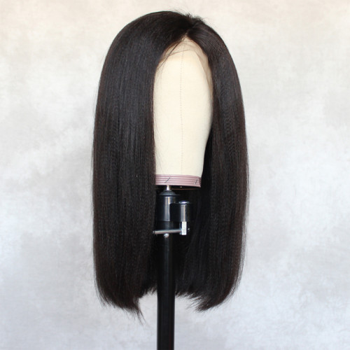 ReadyWig Black Yaki Straight Volume Human Hair Lace Wig 18 Inches