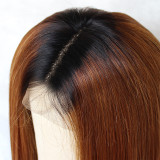brown wigs dark roots long body wavy glueless human hair Wig with natural looking