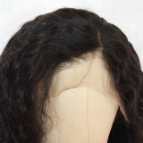 black curly wig wet n wavy human hair wig long curly hair invisible lace front wig for black women