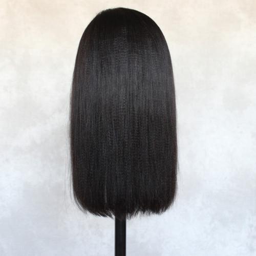 ReadyWig Black Yaki Straight Volume Human Hair Lace Wig 18 Inches